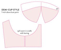 Demi cup pattern:  bustier bra cup pieces