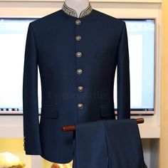 Prince Coat in Tropical Deep Green Self textured with Embellishment Exclusively Available for orders at # Indian Men Fashion, Mens Fashion Wear, Suit Fashion, Style Fashion, Blazer For Men Wedding, Sherwani For Men Wedding, Menswear Wedding, Prince Suit, Terno Slim