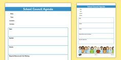 A template for school councillors to use to plan and disseminate the agenda of school council meetings. School Agenda, Meeting Agenda Template, Student Council, Class Projects, Sample Resume, Songs, Templates, How To Plan, Baby Animals