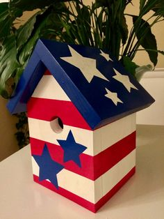 Patriotic stars and stripes red white and blue hand painted birdhouse Bird Houses Painted, Bird Houses Diy, Painted Birdhouses, House Painting, Diy Painting, Birdhouse Craft, Birdhouse Ideas, Bird House Kits, Hacks