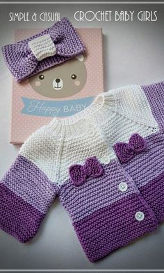 Cardigan and bow for baby worked in garter stitch, using shades of purple. - - Cardigan and bow for baby worked in garter stitch, using shades of purple. – Cardigan and bow for baby worked in garter stitch, using shades of purple. Crochet Jacket Pattern, Baby Cardigan Knitting Pattern, Knitted Baby Cardigan, Baby Knitting Patterns, Baby Patterns, Crochet Patterns, Knit Vest, Baby Girl Crochet, Crochet Baby Clothes