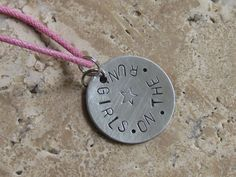 GIRLS on the RUN  Hand Stamped Necklace Pink