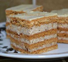 Una din prajiturile mele preferate este aceasta, foile sunt cu zahar ars iar crema din frisca si nuci. Foile se pot face si cu cateva zil... Sweets Recipes, No Bake Desserts, Easy Desserts, Cookie Recipes, Yummy Cookies, Cake Cookies, Cupcake Cakes, Romanian Desserts, Torte Cake
