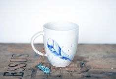 Modern white ceramic mug hand painted  blue winter by OlisCupboard