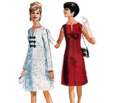 60s Dress Pattern Front Bow Detail Sleeveless or by HoneymoonBus