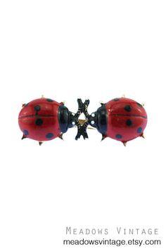 Vintage Ladybug Brooch, Red Ladybug Brooch, Enamel Ladybug Brooch