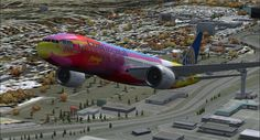 Peter Max designed 777 circa 1999/2000 - Continental Airlines!