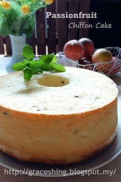 Grace's Blog 欣语心情: 百香果戚风蛋糕 Passionfruit Chiffon Cake