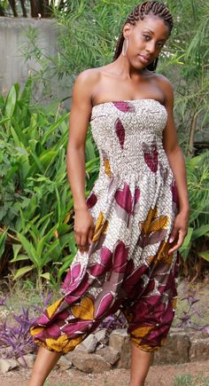 African Print Knee Length Jumpsuit [more at pinterest.com/azizashopping]