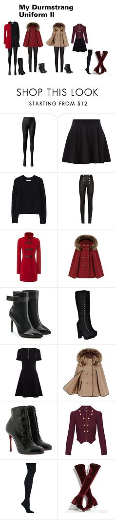 """My Durmstrang Uniform II"" by mprocedi ❤ liked on Polyvore featuring MANGO, Balmain, Jane Norman, Off-White, Karen Millen, Christian Louboutin, Hybrid & Company, Hanes and Stuart Weitzman"