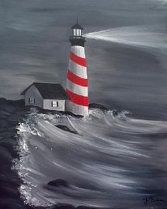 Paint Nite Pittsburgh | Lighthouse at Nighttime at Papa Rocks Pizza Pub 05/11/2015
