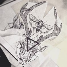 deer geometry tattoo by dasleitbild