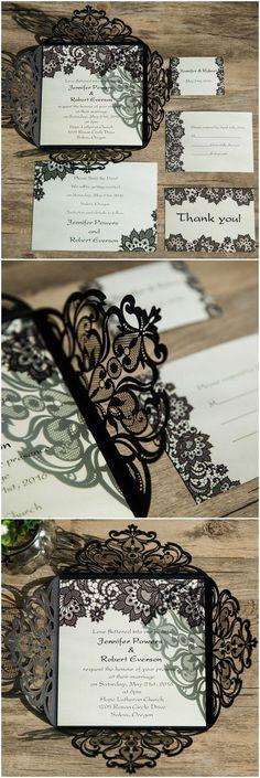 elegant black lace laser cut wedding invitations for vintage wedding ideas EWWS062
