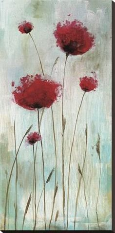 Stretched Canvas Print: Splash Poppies I by Catherine Brink : 36x18in