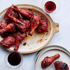 12 Amazing BBQ Chicken Recipes - Leftover red wine gets repurposed into a sweet, sticky and luscious barbecue sauce in this great rec. Easy Bbq Recipes, Barbecue Recipes, Barbecue Sauce, Easy Chicken Recipes, Wine Recipes, Cooking Recipes, Grilling Recipes, Healthy Recipes, Vegetarian Grilling