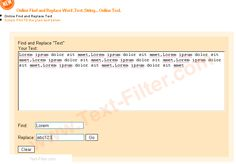 Online - Find and Replace Word ,Text ... - Free Online Tool Online Find and Replace Text.  http://www.text-filter.com/Find-And-Replace-Word-Online-Find-And-Replace-Text-Tools.htm