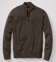 The high quality blend of cotton and cashmere will keep this quarter-zip men's sweater feeling soft and looking great. (via @Eddie Bauer www.eddiebauer.com)