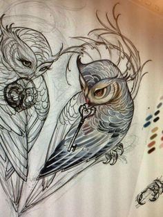 The sketchiness of these owls, the arty swirly lines, I love it. The owls are a bit too human faced for me, but the style of drawing is good.