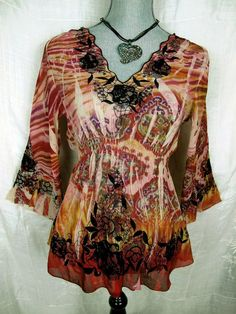 MUSHKA by SIENNA ROSE Sublimation Top Women's S Boho Floral Sheer Empire Waist #MushkabySiennaRose #Blouse #Casuall#everyday#boho#shirt#top#arty#fashion#trend#summer#funky#style#deal#summer#sale