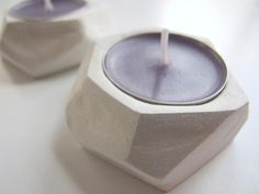 DIY: faceted clay tealight holders