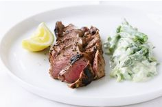 Lemon oregano lamb with cucumber & yoghurt salad