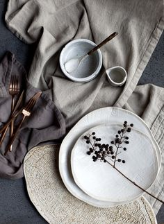 The Prop Dispensary - Hege in France moody styling copper cutlery ceramics washed linen dining(Table Top Ideas) Wabi Sabi, Deco Pastel, Deco Floral, Copper Cutlery, Prop Styling, Decoration Table, Ceramic Pottery, Ceramic Plates, Ceramic Spoons