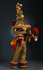 Ekpenyong Bassey Nsa, Ebonko Masquerade Ensemble, multiple media, on view in Africa Interweave: Textile Diasporas at Currier Museum of Art, Manchester, NH, September 28, 2013 — January 12, 2014.