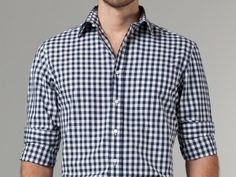 Casual Navy Gingham Shirt (indochino) $99