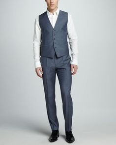 Hugo Boss Sharkskin Suit, Light Blue - Neiman Marcus