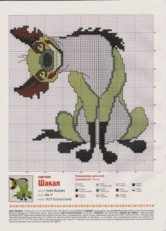 Lion King - hyena 123 Cross Stitch, Cross Stitch Fruit, Cross Stitch Charts, Cross Stitch Designs, Cross Stitch Patterns, Cross Stitching, Cross Stitch Embroidery, Hand Embroidery, Art Minecraft