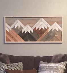 Reclaimed Wood Wall Art Mountain Scene Mantel Art Cabin Decor Rustic Style Cozy Over Sized Wooden Mural Natural Wood Stained by HollyBeeandCompany on Etsy Reclaimed Wood Wall Art, Rustic Wood Walls, Wood Art, Reclaimed Lumber, Wall Wood, Metal Art, Diy Wood, Rustic Style, Rustic Decor