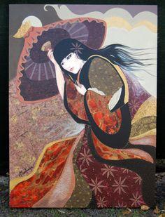 Lady Kiku -  40 x 50 acrylic 2D mixed media. Prints available.