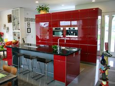 Red IKEA Kitchen Continuous Wall of Cabinets