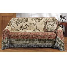 Toile Print Sofa Cover   Horse Themed Gifts, Clothing, Jewelry And  Accessories All For