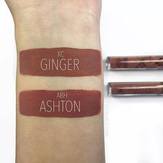 Swatch comparison dupe between @kyliecosmetics 'ginger' & @anastasiabeverlyhills 'ashton' ✨they are definitely similar but they have different undertones. 'Ginger' has more of an orangey/terracotta undertone while 'Ashton' has more of a brick tone to it. I still like the formula of Kylies a little more but it's all personal preference. I think if you already have one, you probably won't need the other. unless you're like me and have 373...