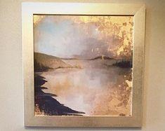 Handgemalte Blattgold Giclee print - Küste, See, Insel, Landschaft abstrakte Kunst - benutzerdefinierte Größe