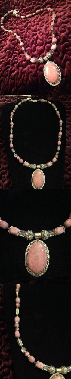 Sets 34071: Rhodochrosite Necklace W Pendant Set In .925 Sterling Silver, Pink Dragon Jasper -> BUY IT NOW ONLY: $60 on eBay!