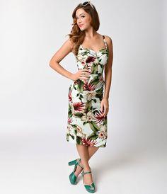 c71f7e02404 1950s Mint Hawaiian Floral Marisol Sarong Dress Pin Up Dresses