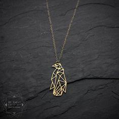 Penguin necklace origammi penguin necklace geometric by ByYaeli