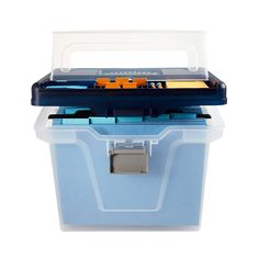 Office Depot® Brand Large Mobile File Box, Letter Size, Clear/Blue