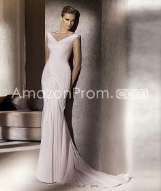 Attractive Sheath/Column Floor-Length Off-the-shoulder Color Wedding Dresses 2014 Spring Trends
