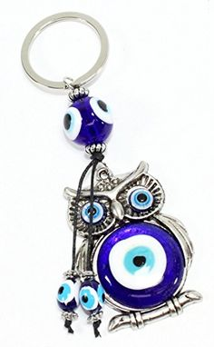 Owl Blue Evil Eye Keychain Ring Protection Religious Charm Birthday Blessing Congratulatory Gift US Seller (Owl-YP34012)