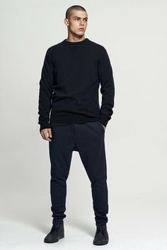 lambswool knit | vintage neck pocket long sleeve t.shirt | stretch twill pull on pant