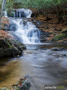 Hike the Big Laurel Falls Trail near the Appalachian Trail at Albert Mountain to a beautiful, tumbling waterfall