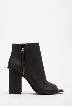 Faux Leather Peep Toe Booties | Forever 21 | #stepitup