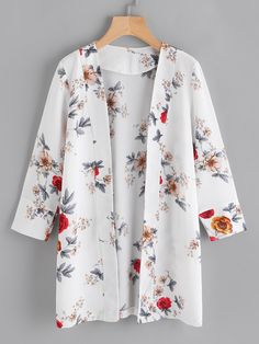 SheIn offers Random Florals Open Front Coat & more to fit your fashionable needs. SheIn offers Random Florals Open Front Coat & more to fit your fashionable needs. Kimono Fashion, Modest Fashion, Hijab Fashion, Fashion Outfits, Mode Kimono, Chiffon Kimono, Floral Kimono, What Is Fashion, Mode Top