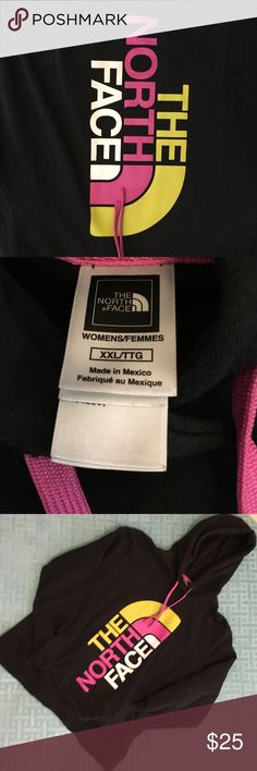 The North Face pullover hoodie EUC Black with white, raspberry, & yellow graphics drawstring hood & kangaroo pocket very warm The North Face Tops Sweatshirts & Hoodies