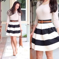 Modcloth stripe it lucky skirt and beige sweater, bow belt and cognac Ferragamo bice tote