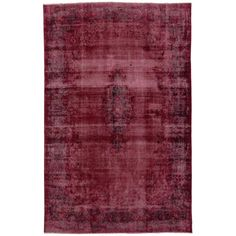 Distressed and Overdyed Vintage Persian Burgundy Rug with Modern Style | From a unique collection of antique and modern persian rugs at https://www.1stdibs.com/furniture/rugs-carpets/persian-rugs/