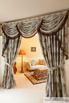 Bleu Fleur De Lis - Classic Overlapping Swag Valance Curtains Grey BLue Damask Cotton Blend Valance Curtain Set  http://www.celuce.com/p/47/bleu-fleur-de-lis-overlapping-swag-valances-curtain-drapes